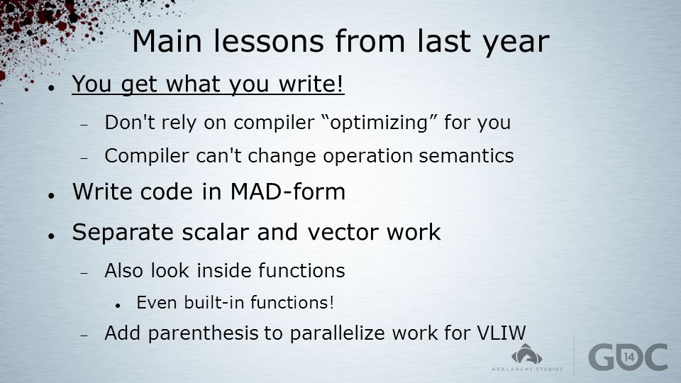 Main lessons from last year