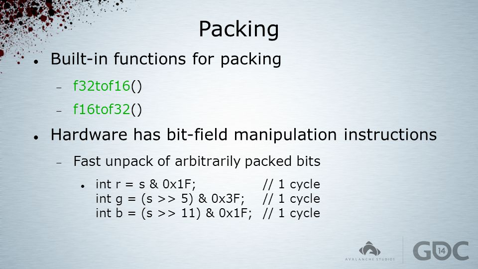 Packing Built-in functions for packing