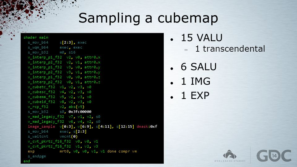 Sampling a cubemap 15 VALU 6 SALU 1 IMG 1 EXP 1 transcendental