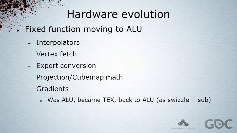 Hardware evolution Fixed function moving to ALU Interpolators