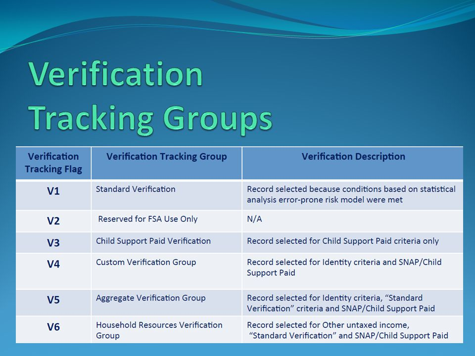 Verification Tracking Groups