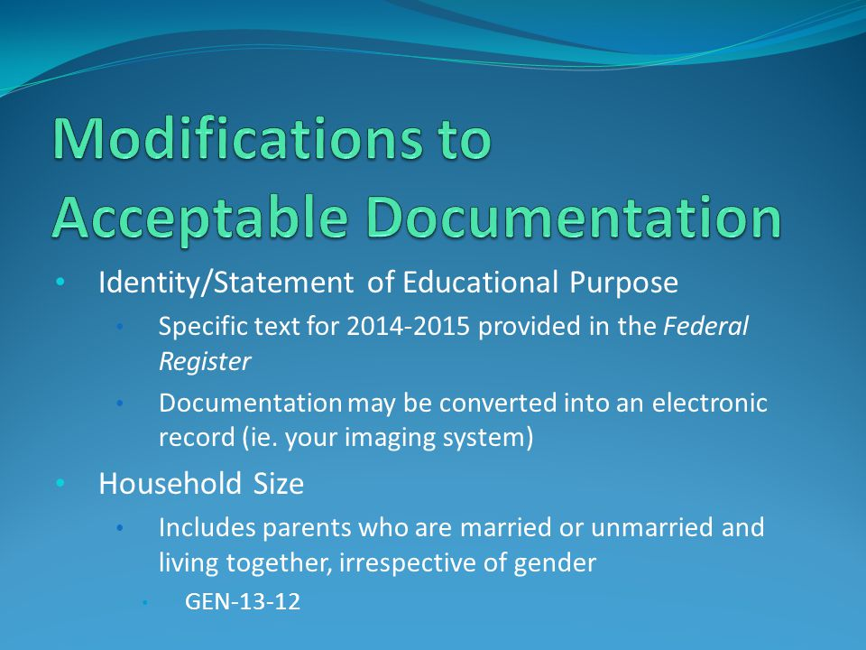 Modifications to Acceptable Documentation