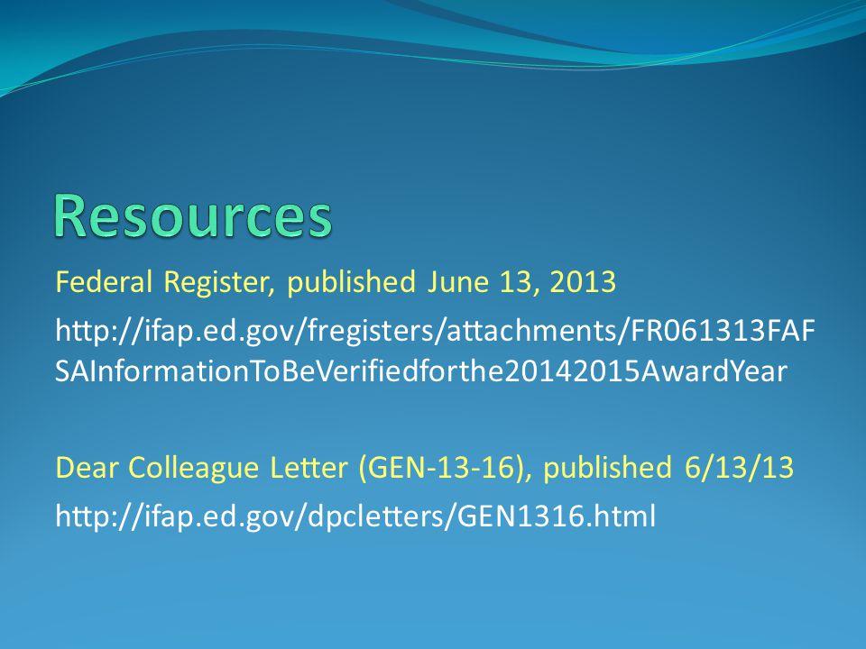 Resources Federal Register, published June 13, 2013