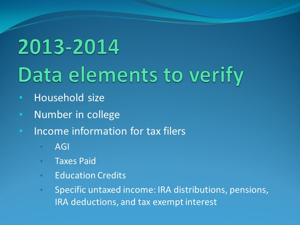 2013-2014 Data elements to verify