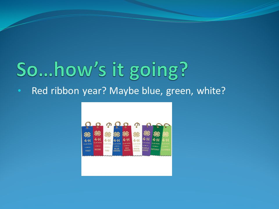 So…how's it going Red ribbon year Maybe blue, green, white