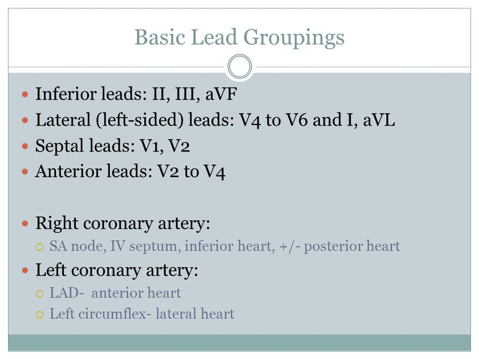 Basic Lead Groupings Inferior leads: II, III, aVF