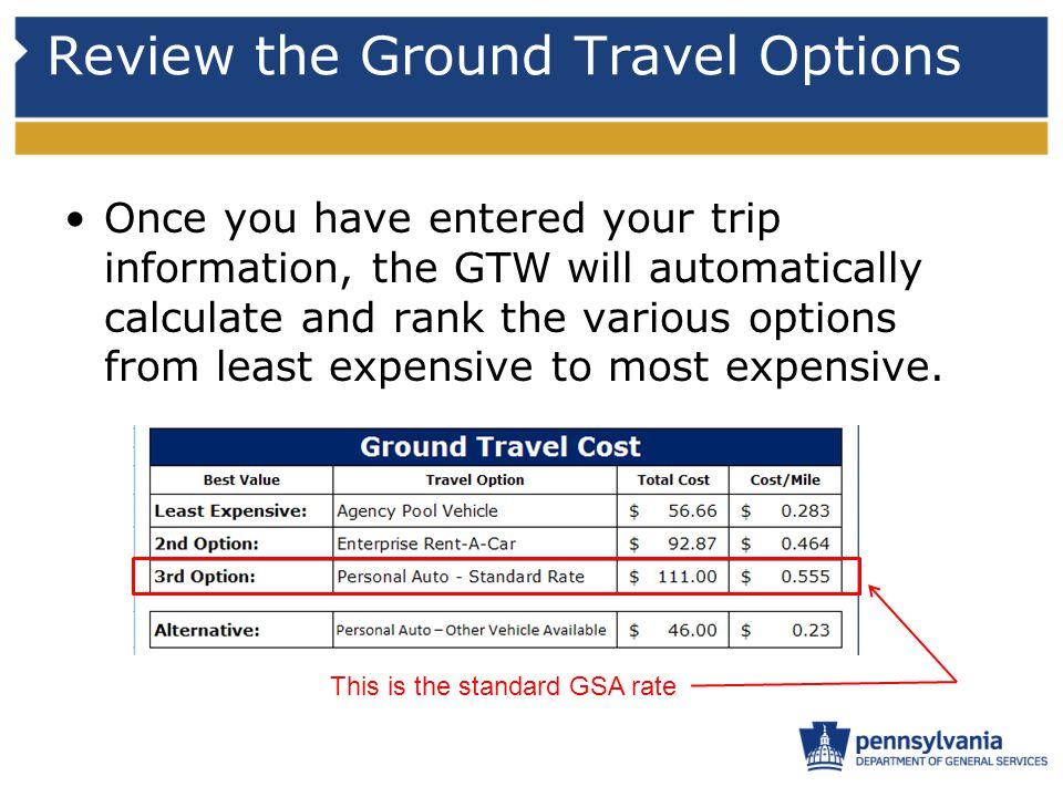 Review the Ground Travel Options