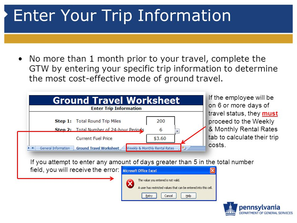 Enter Your Trip Information