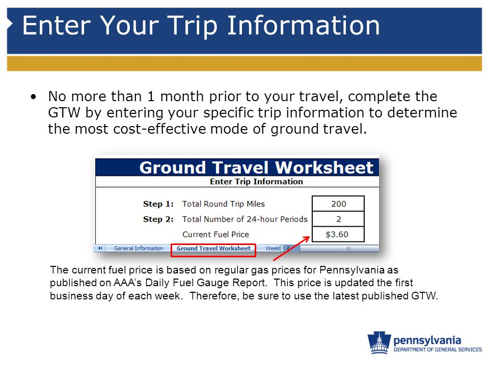 Enter Your Trip Information