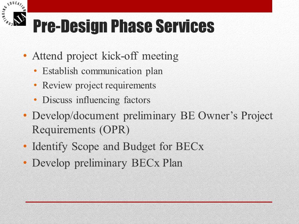 Pre-Design Phase Services