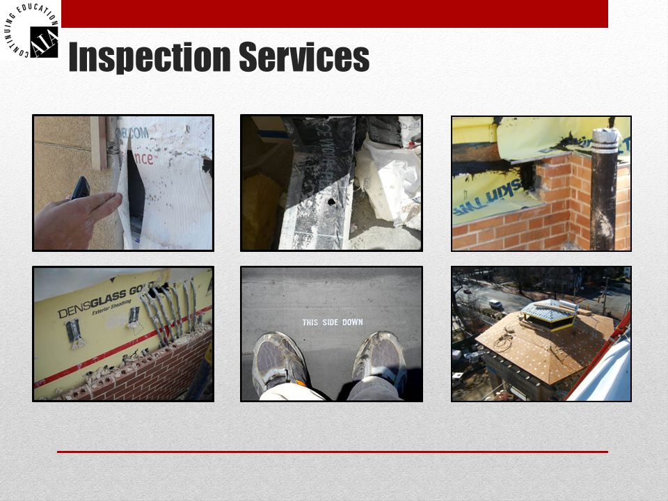 Inspection Services Provide end dams where flashing steps down