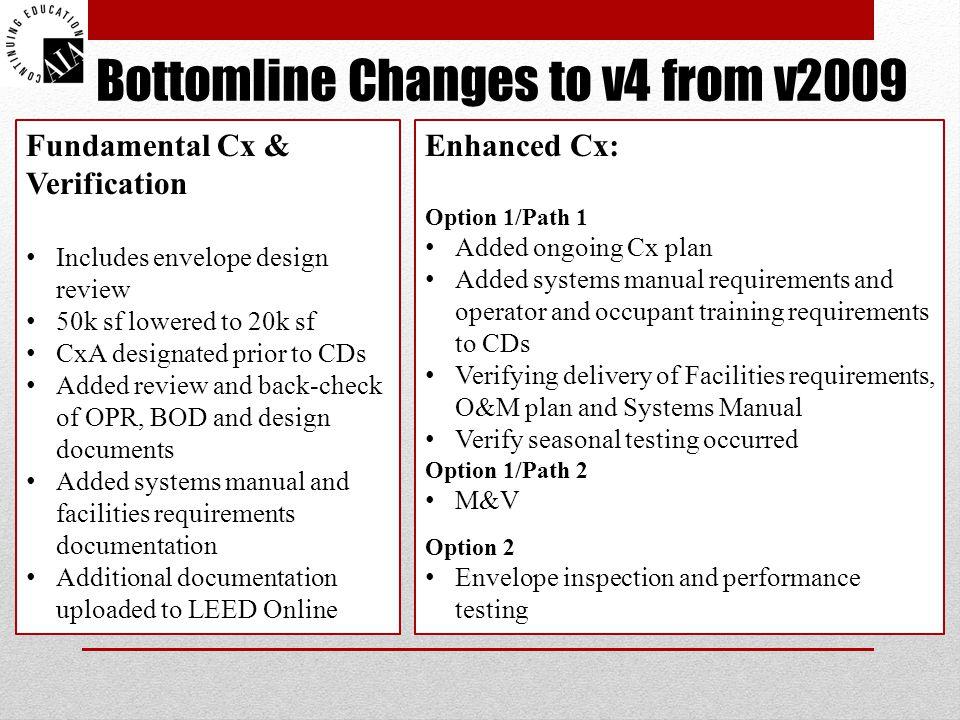 Bottomline Changes to v4 from v2009