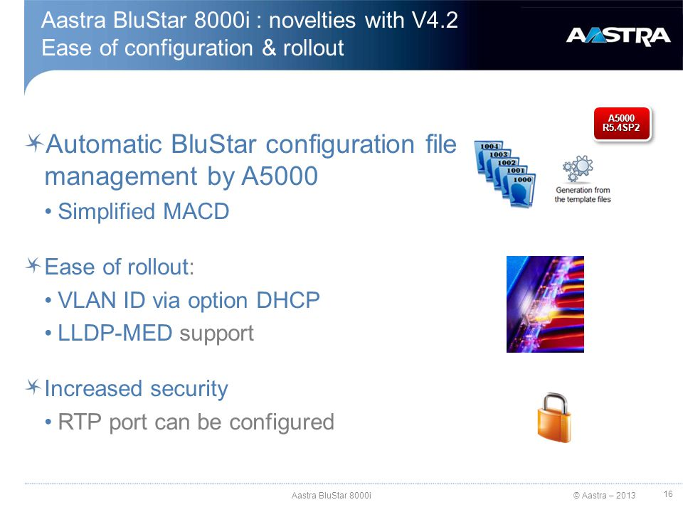 Automatic BluStar configuration file management by A5000