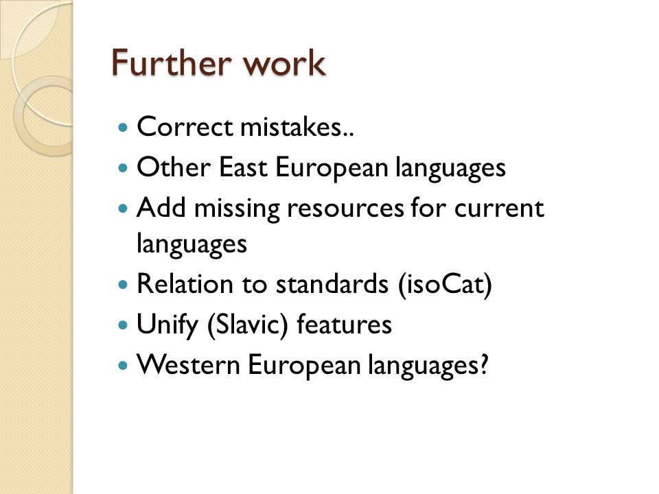 Further work Correct mistakes.. Other East European languages