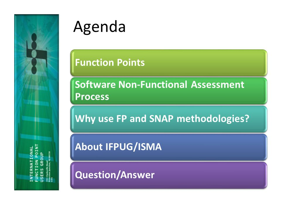 Agenda Function Points Software Non-Functional Assessment Process