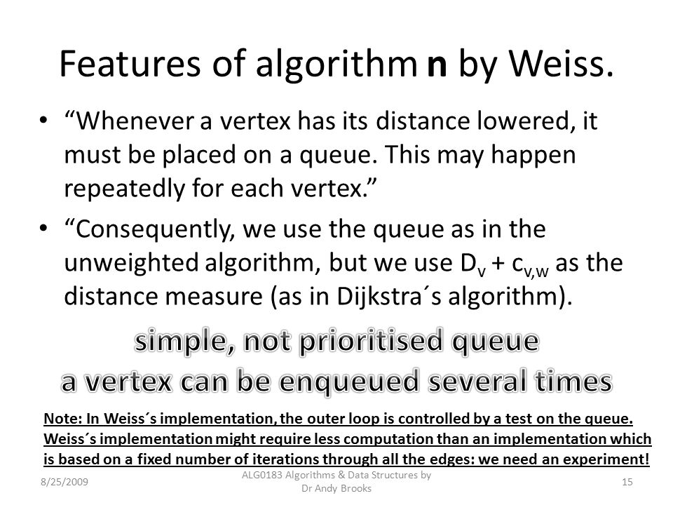Features of algorithm n by Weiss.