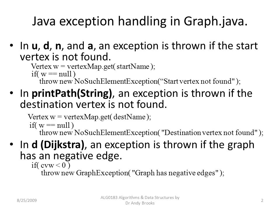Java exception handling in Graph.java.