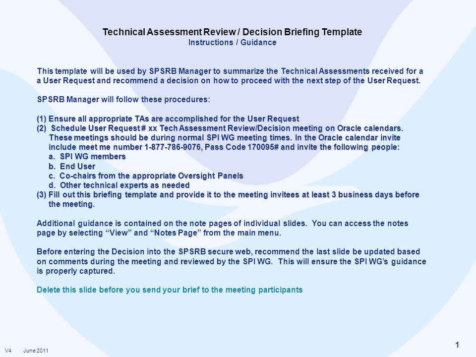 Technical Assessment Review  Decision Briefing Template  Ppt