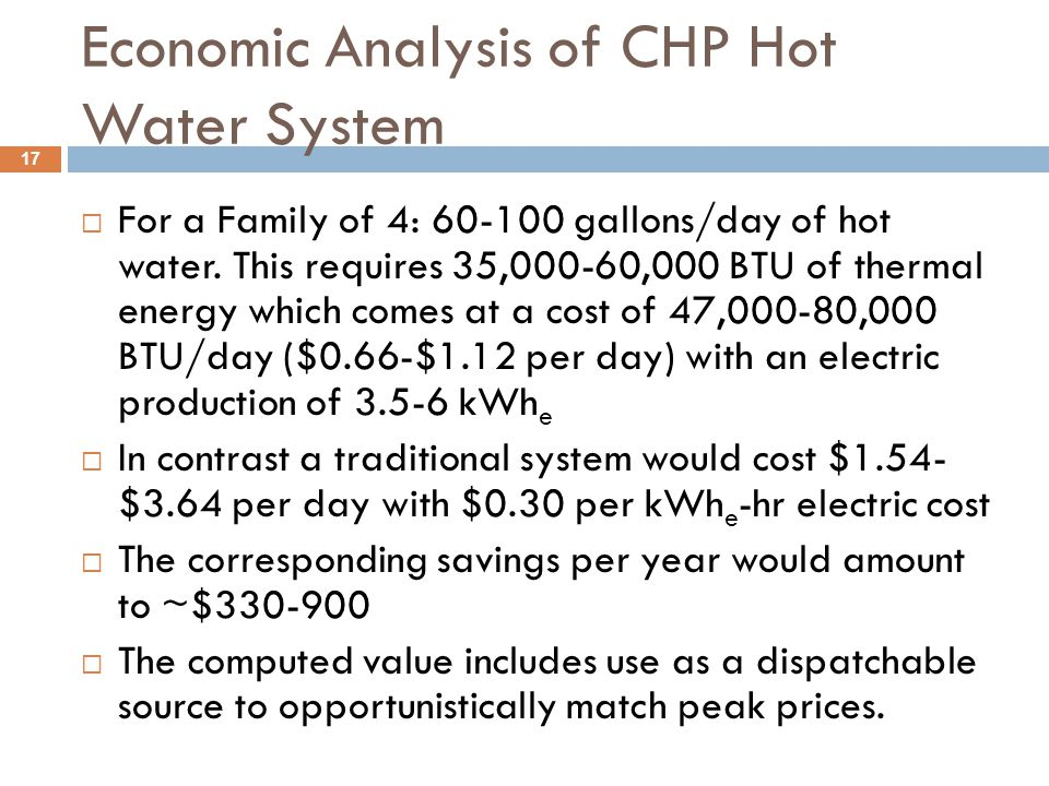 Economic Analysis of CHP Hot Water System