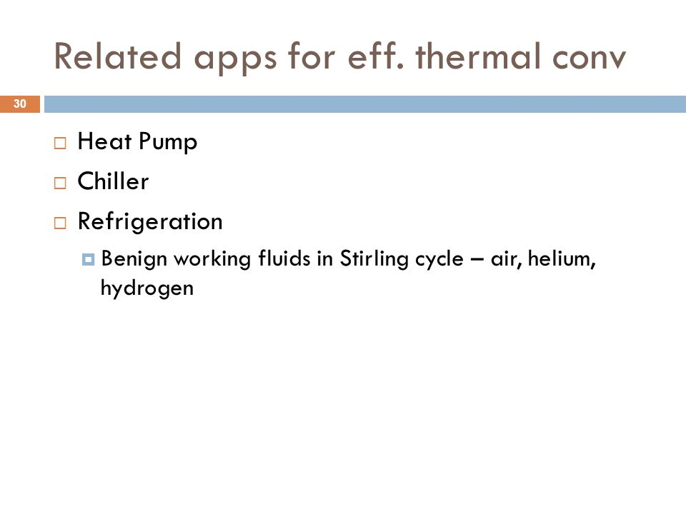 Related apps for eff. thermal conv