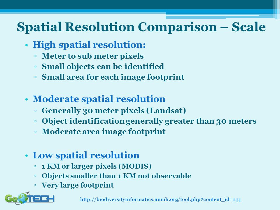 Spatial Resolution Comparison – Scale