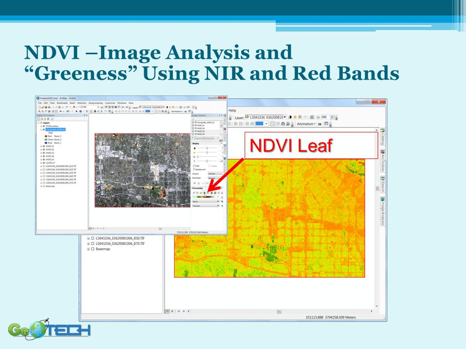 NDVI –Image Analysis and Greeness Using NIR and Red Bands