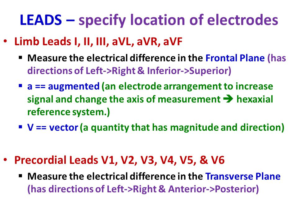 LEADS – specify location of electrodes