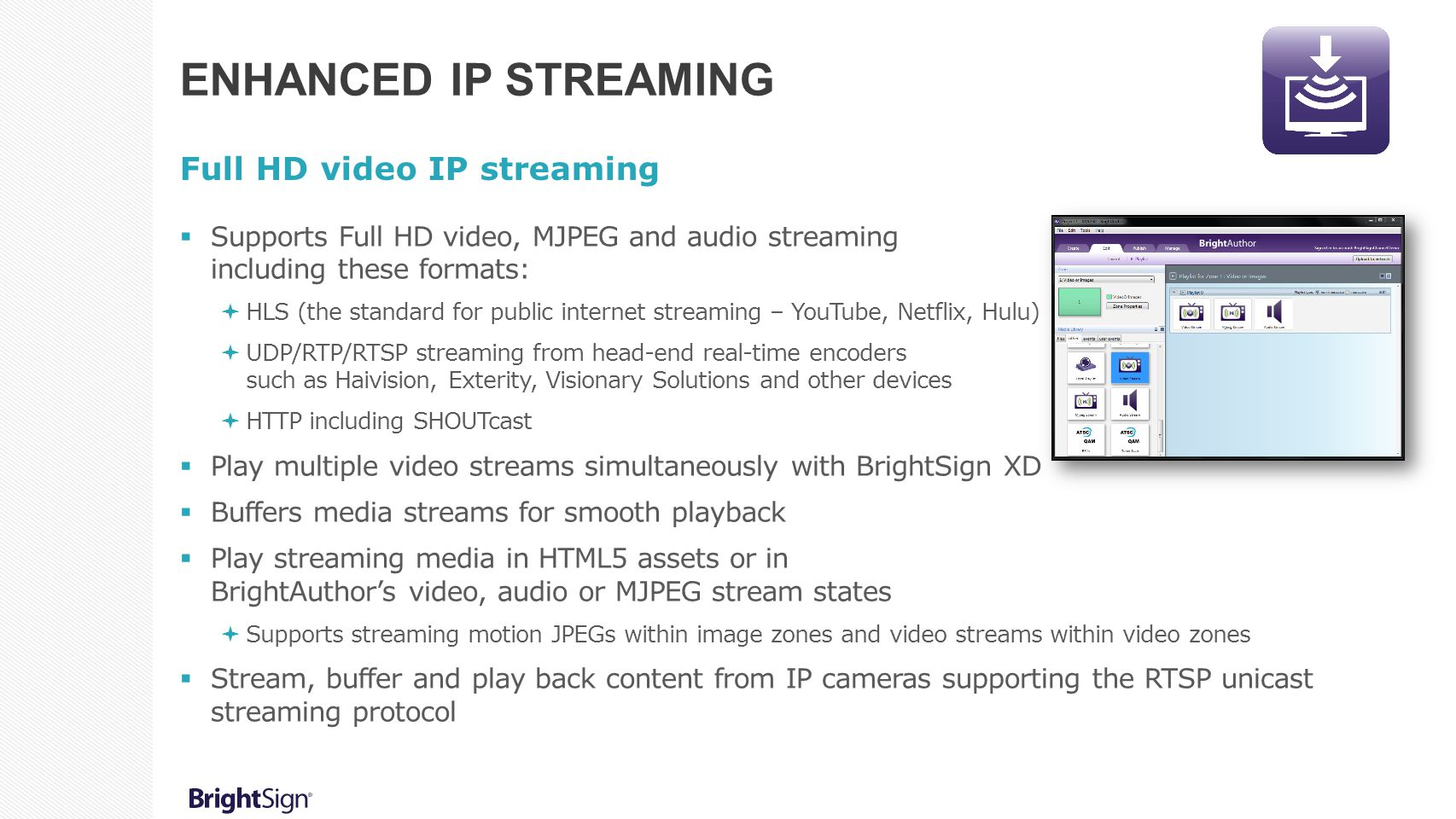 Enhanced IP Streaming Full HD video IP streaming