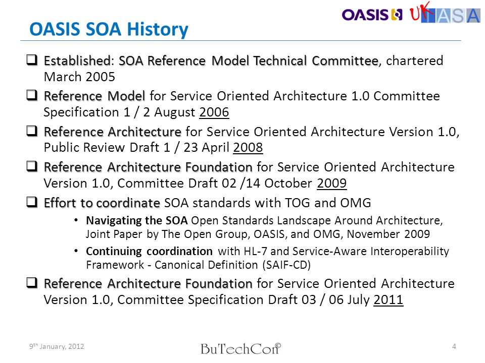 OASIS SOA History Established: SOA Reference Model Technical Committee, chartered March 2005.