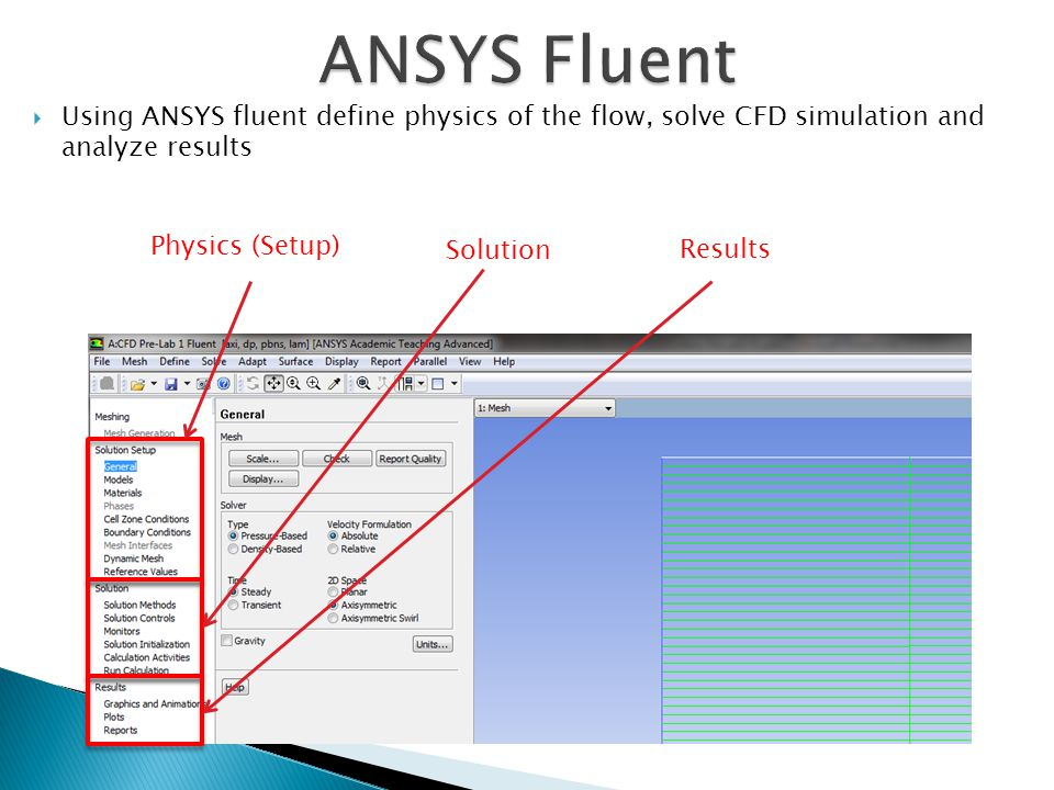 ANSYS Fluent Using ANSYS fluent define physics of the flow, solve CFD simulation and analyze results.
