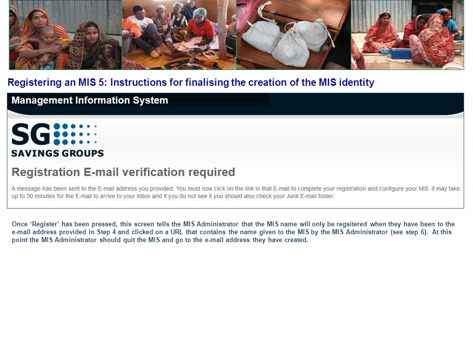 Registering an MIS 5: Instructions for finalising the creation of the MIS identity