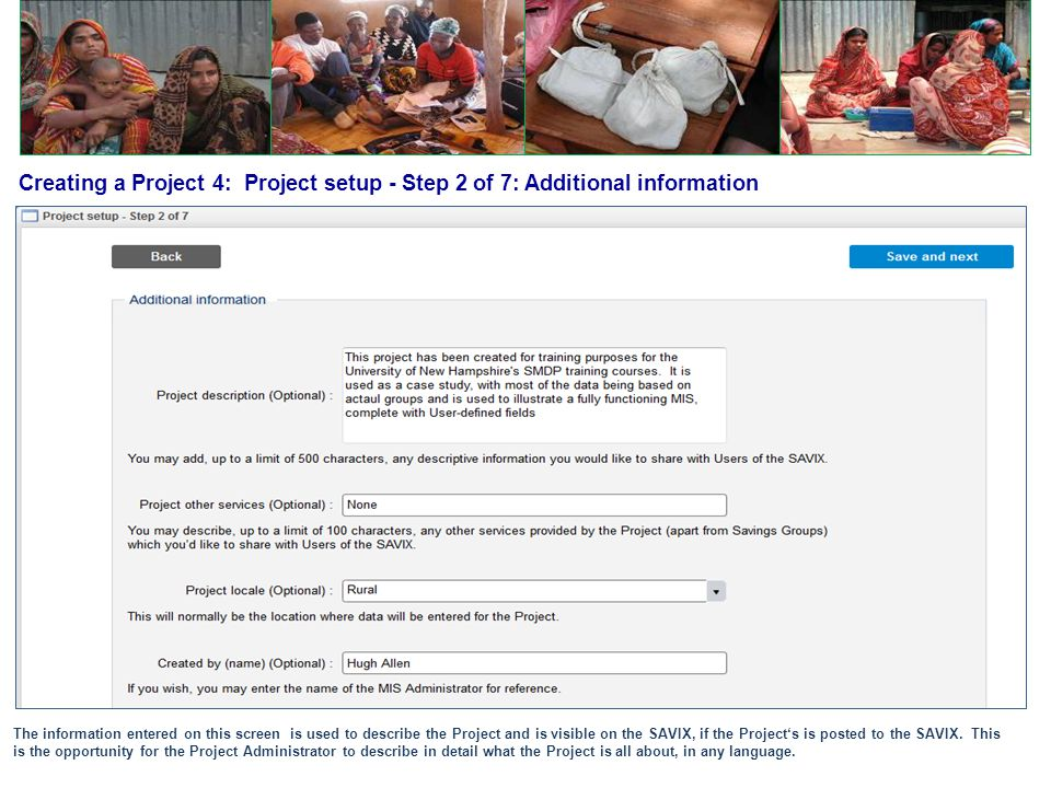 Creating a Project 4: Project setup - Step 2 of 7: Additional information