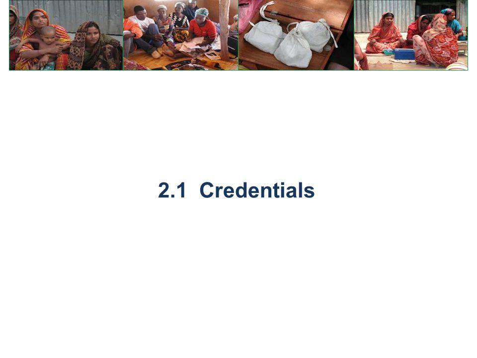 2.1 Credentials
