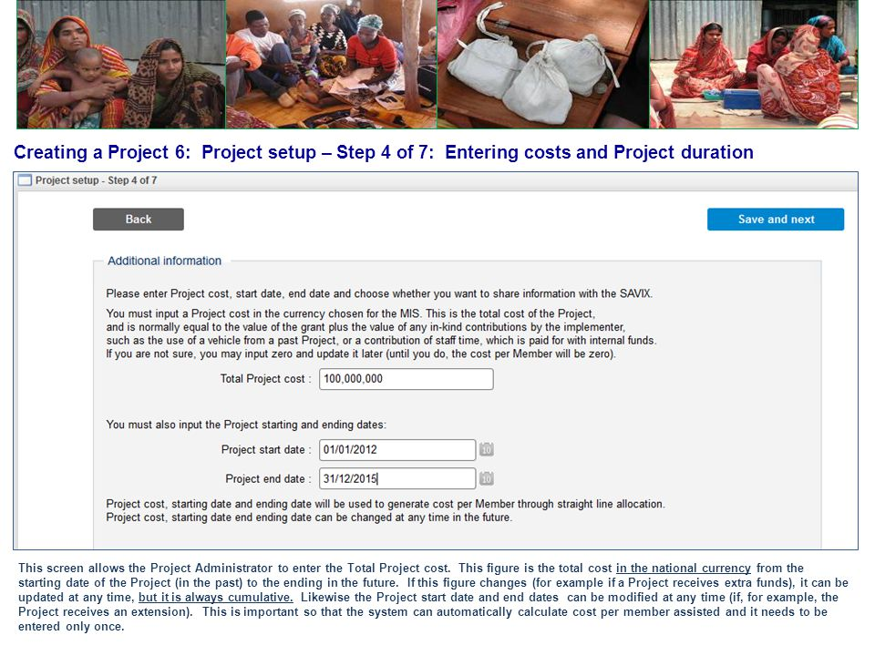Creating a Project 6: Project setup – Step 4 of 7: Entering costs and Project duration