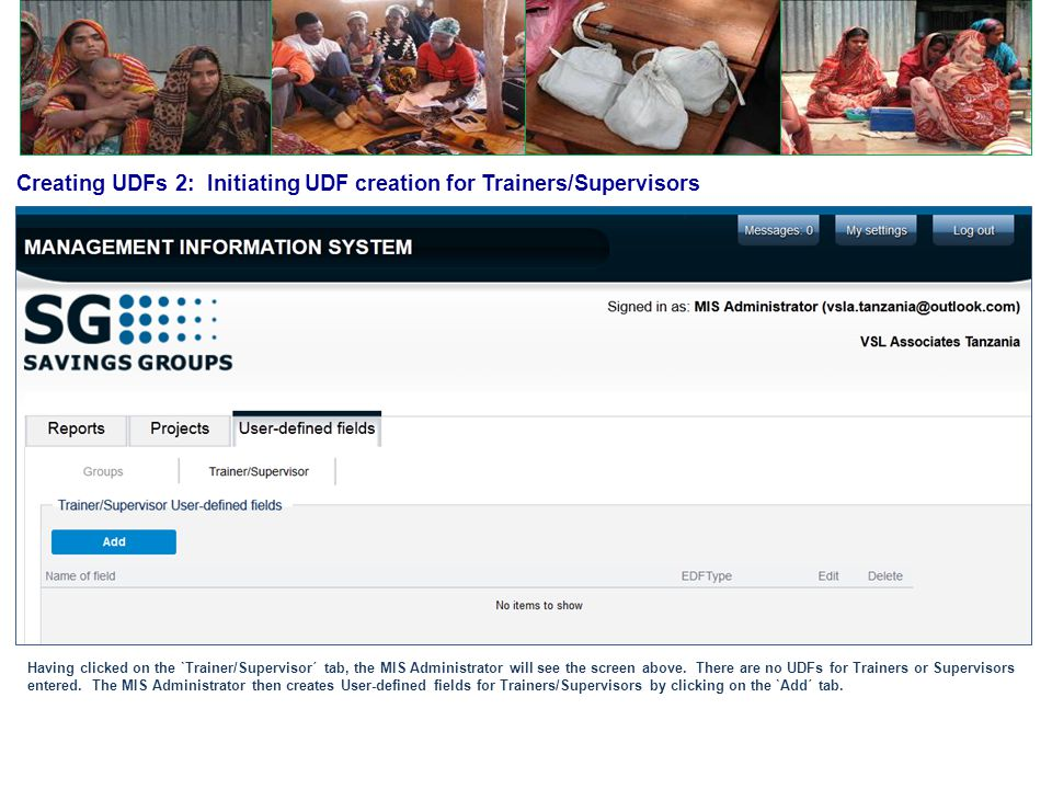 Creating UDFs 2: Initiating UDF creation for Trainers/Supervisors