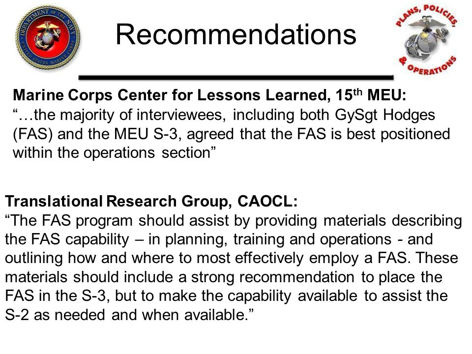 Recommendations Marine Corps Center for Lessons Learned, 15th MEU: