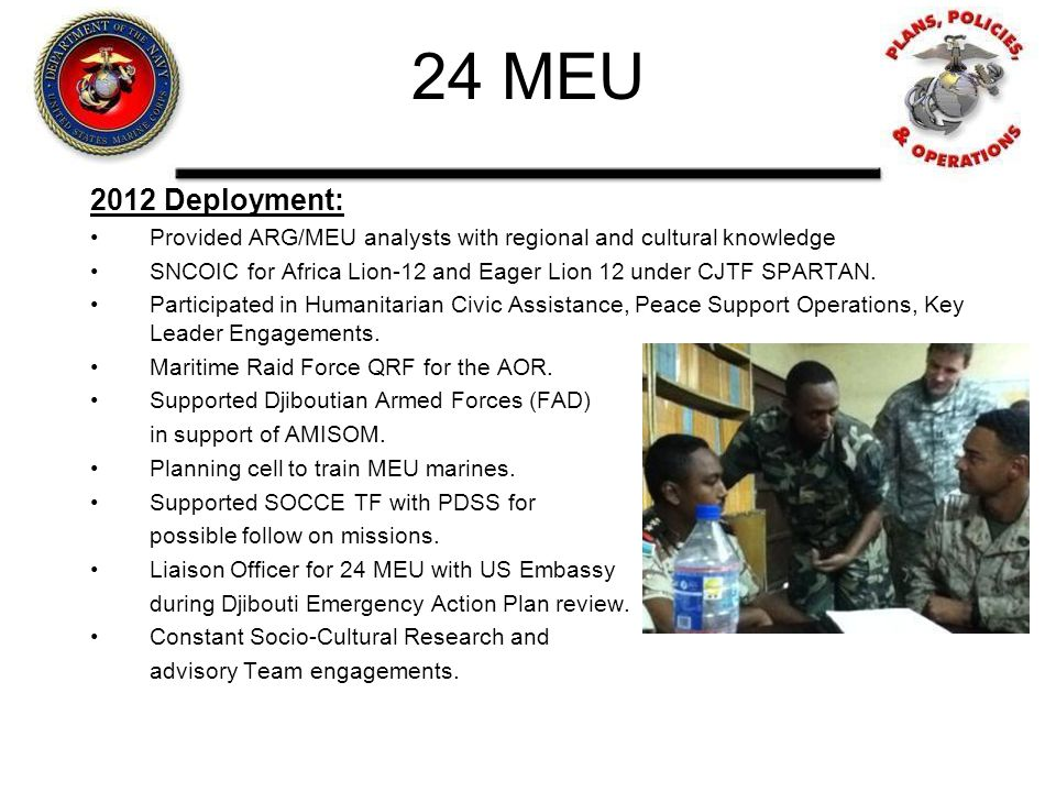 24 MEU 2012 Deployment: Provided ARG/MEU analysts with regional and cultural knowledge.