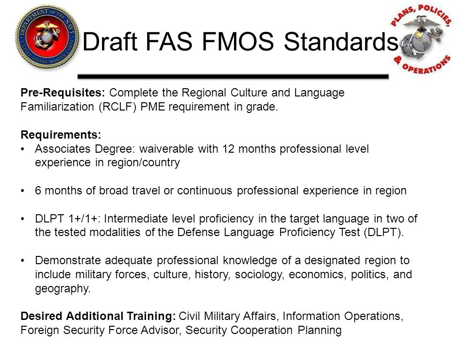 Draft FAS FMOS Standards