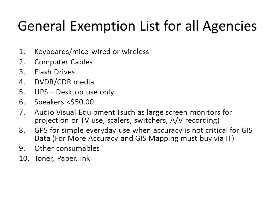 General Exemption List for all Agencies