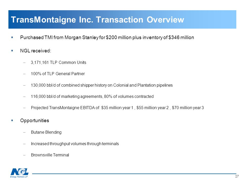 TransMontaigne Inc. Transaction Overview