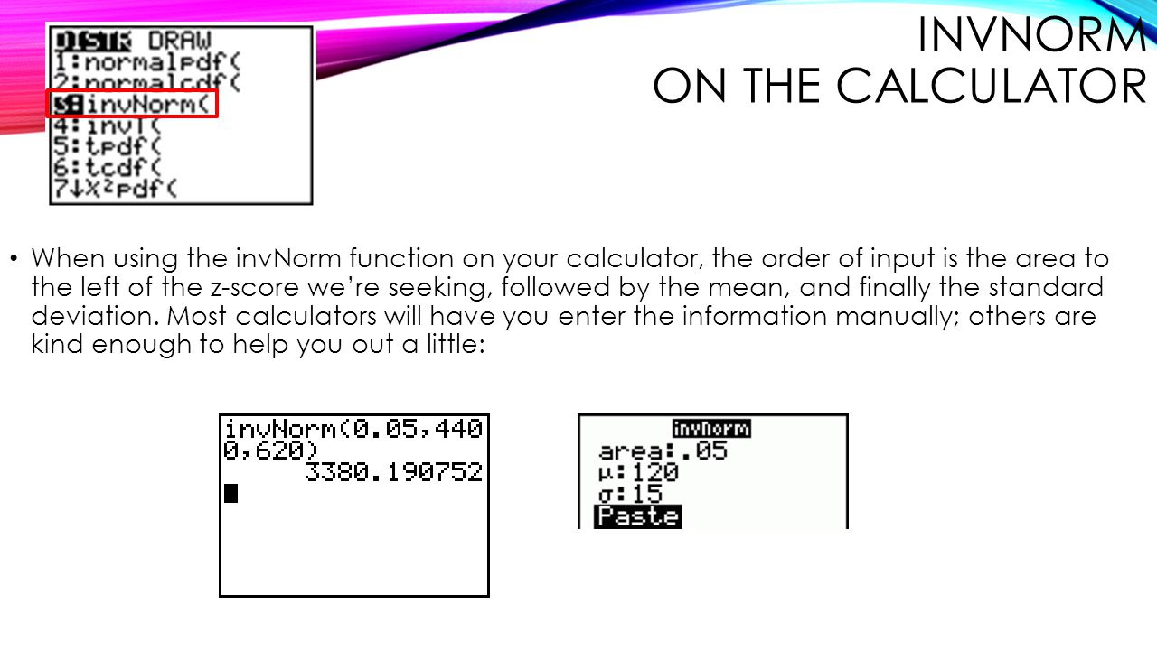 invNorm on The Calculator
