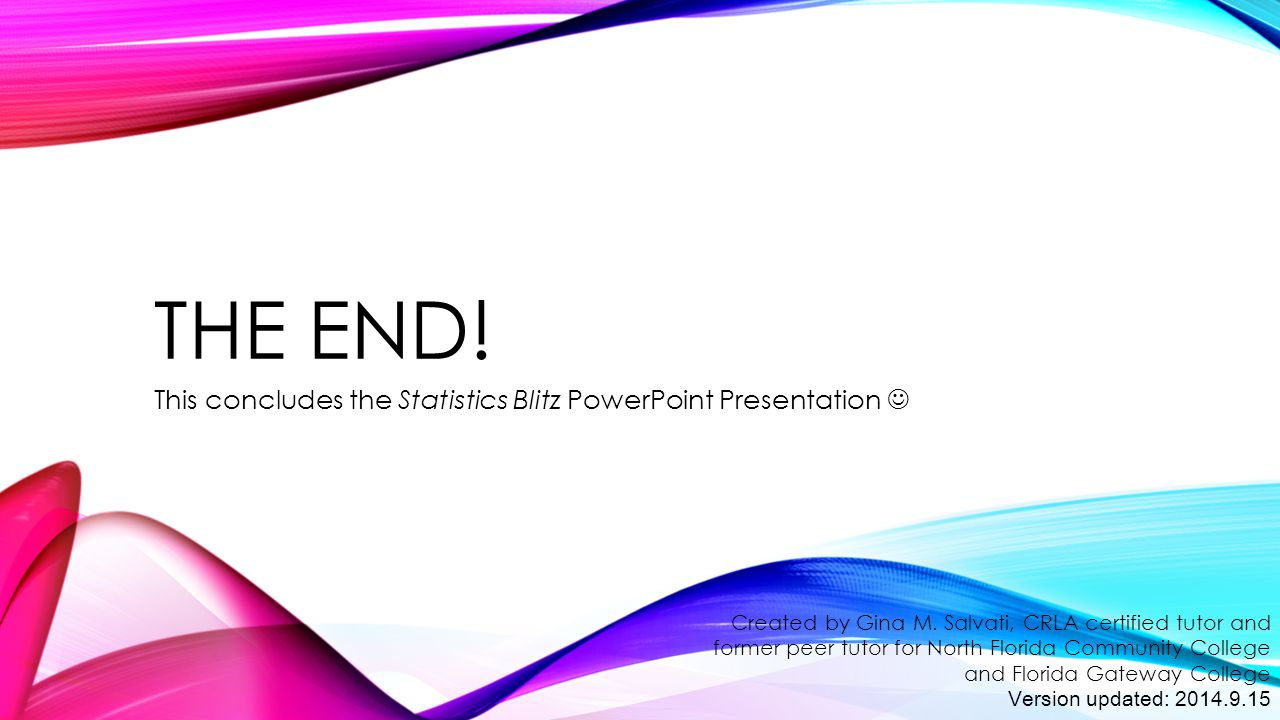 This concludes the Statistics Blitz PowerPoint Presentation 