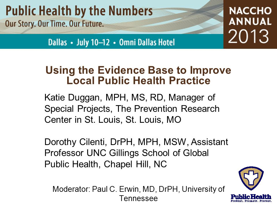 Using the Evidence Base to Improve Local Public Health Practice