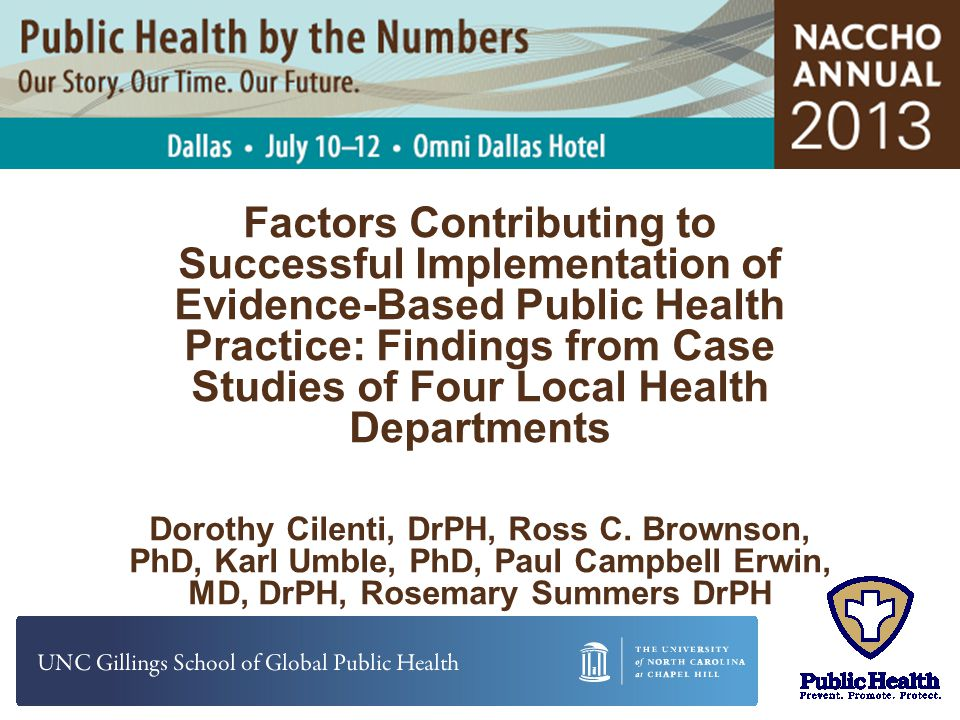 Factors Contributing to Successful Implementation of Evidence-Based Public Health Practice: Findings from Case Studies of Four Local Health Departments