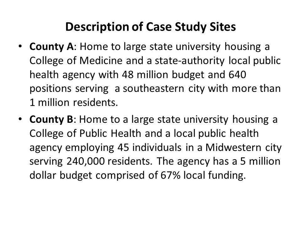 Description of Case Study Sites