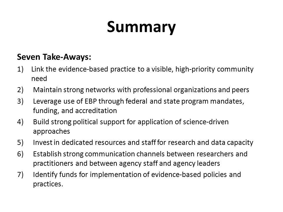 Summary Seven Take-Aways: