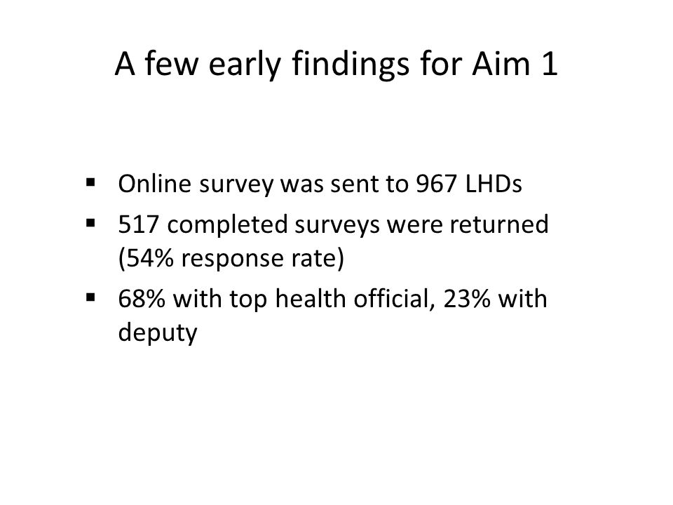 A few early findings for Aim 1