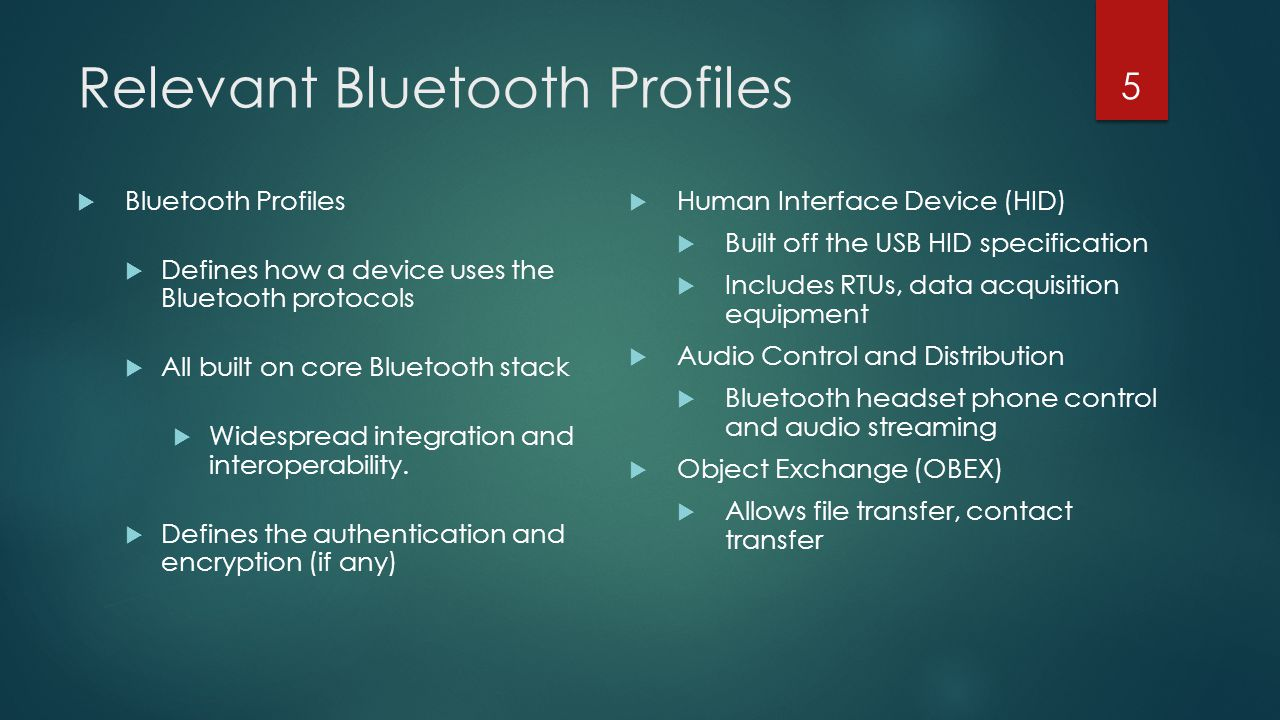 Relevant Bluetooth Profiles