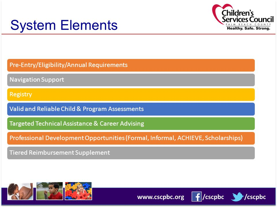 System Elements Pre-Entry/Eligibility/Annual Requirements
