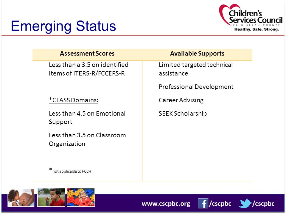 Emerging Status Assessment Scores Available Supports